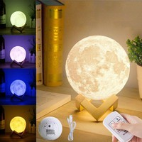 13CM 3D Moon Lamp USB LED Remote Color Changing Night Light Table Desk Lamp