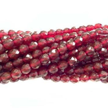 8mm Czech Garnet Red Fire Polished Glass beads