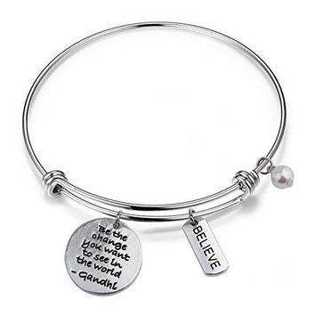 RQIER Gandhi Be The Change You Wish To See In The World Bracelet Expandable Wire Bangle Inspirational Jewelry Gift