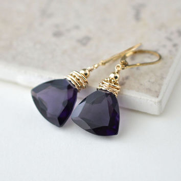 Purple Statement Earrings, Gold Filled Leverbacks, Large Purple Stone Drop Earrings, Eggplant Plum