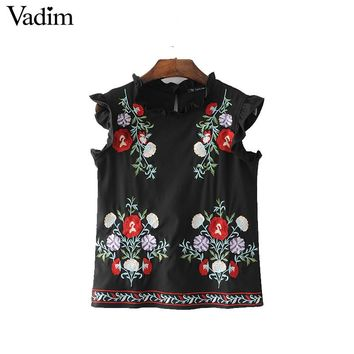 Vadim women sweet ruffles floral embroidery shirts sleeveless black vintage blouse ladies casual European style tops WT441