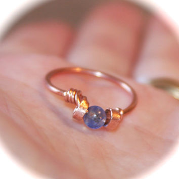 Blue Quartz Ring, Pick Copper or Solid Sterling Silver Ring, Handmade Ring, Wire Wrapped Gemstone Ring, Birthstone Ring, Toe Ring, Midi Ring