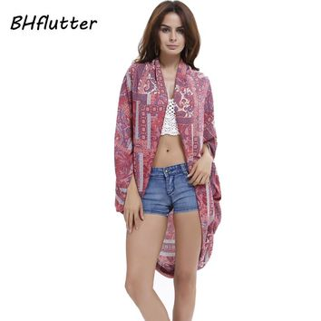 BHflutter Women Tops Boho Style 2017 Floral Print Swimwear Cover-ups Beach Tees Cotton Casual Summer Blouse Blusas
