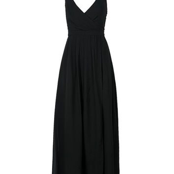 Black V-neck Strappy Backless Cami Split Maxi Dress