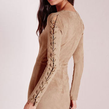 Deep V-Neck Faux Suede Lace up Detail Bodycon Mini Dress