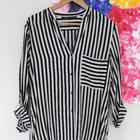 Black & White Striped Blouse — Bib + Tuck