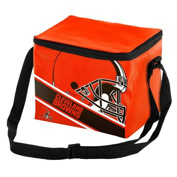 NFL Cleveland Browns Big Logo Striped 6 pack Cooler Lunch Box Bag Insulated