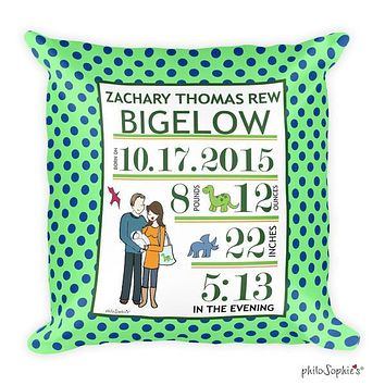 Dinosaur Theme Baby Announcement Pillow
