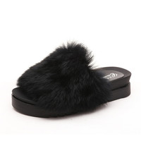 Women Flips Flops 2016 Winter Warm Faux Fur Shoes Woman Slippers Fashion Platform Female Slides Sandals Woman Flat Slippers