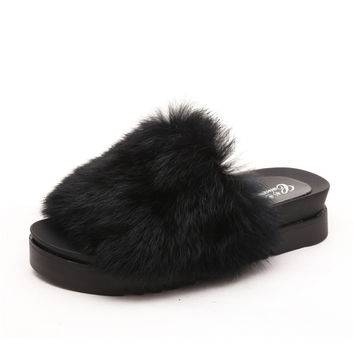 Black Furry Slides