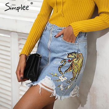 Simplee Embroidery fringe hole denim skirt women Streetwear zipper high waist skirt female Chic casual pocket mini skirts womens