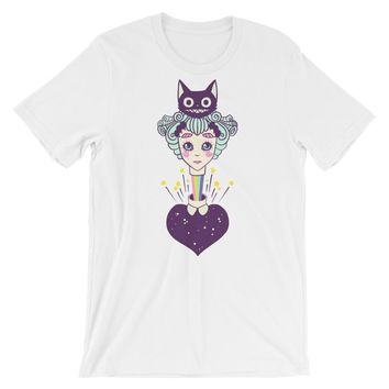 Alice In Wonderland And The Cheshire Cat, White Unisex T-Shirt