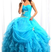 Luxurious Blue Sweetheart Quinceanera Dress Features Ruched Bodice