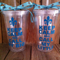 Fleur de lis, Big little sorority keep calm and call my big little pair, 16 oz personalized tumbler with straw and coordinating bow!