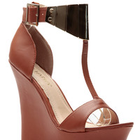 Tan T Plated Matte Wedges