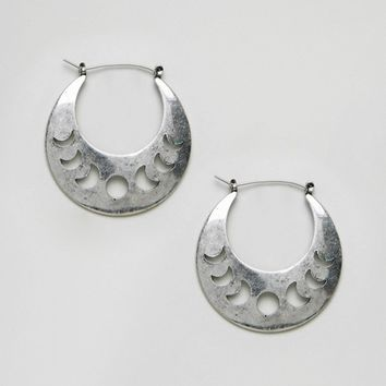 ASOS DESIGN Cut Out Moon Phase Hoop Earrings at asos.com