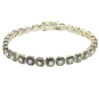 Vintage Bracelet Simulated Diamonds Antiqued Silver 7.5 inches Bucasi - Like Love Buy