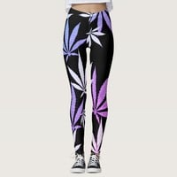 Ganja weed smoke pot black and purple pattern leggings