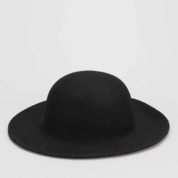 Felt Wide-Brim Bowler Hat- Black