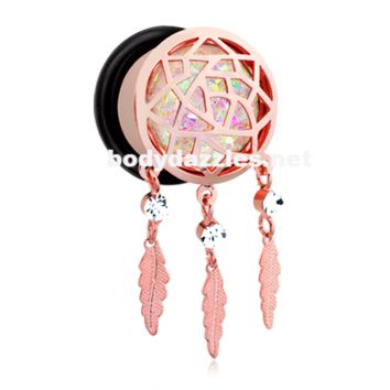 Pair of Rose Gold Opal Sparkle Dreamcatcher Single Flared Ear Gauge Plug