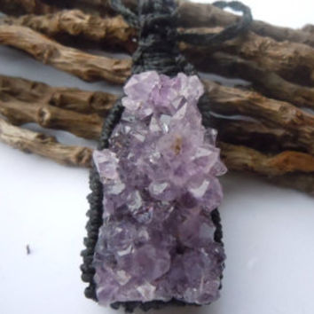 Amethyst Druse Necklace. Macrame necklace,amethyst druse,sobriety necklace,gift for her,healing crystal,boho,tribal,nomad,gypsy,aquarius