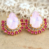 Opal bush pink studs rhinestone swarovski earrings, bridal jewelry, fashion trendy classic earrings - 18 K Gold plated swarovski jewelry