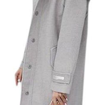 Women's Long Detachable Faux Fur Trim Collar Plus Size Wool Pea Coat Jacket