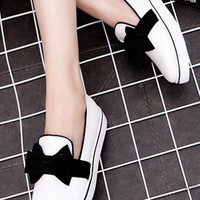 White Round Toe Flat Bow Casual Ankle Shoes