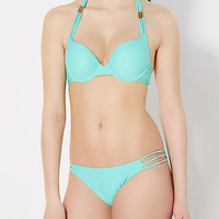 Turquoise Caged Push-Up Bikini Top