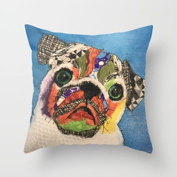 Pug Puppy Throw Pillow by kathrynkearny