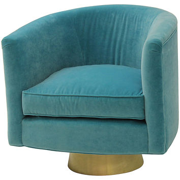 Hollings Velvet Chair, Turquoise, Accent & Occasional Chairs