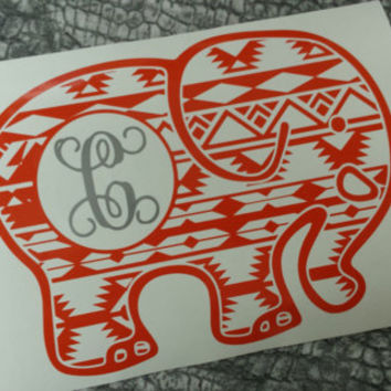 Elephant decal decal car monogram monogram sticker per