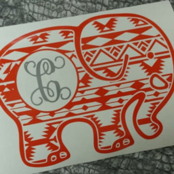 Elephant decal decal car monogram monogram sticker personalize car decal