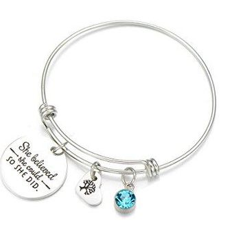 YHMM Inspirational Words She Believed She Could So She Did Imitation Birthstone Bangle Bracelet For Women Girls
