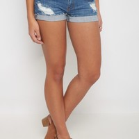 Distressed Medium Blue Cuffed Jean Short | Jean Shorts | rue21