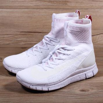 Nike Free Flyknit Mercurial Superfly White/pure Platinum University Red Running Shoes