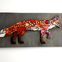 Fox Mosaic Wall Hanging. Nature Inspired Original Mixed Media Art. Boho Style Unique Home Decor Artwork.