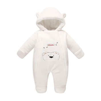 Newborn baby clothes bear Onesuit baby girl boy rompers hooded plush jumpsuit winter overalls for kids roupa menina