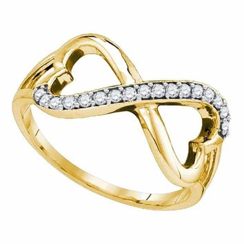 10kt Yellow Gold Women's Round Diamond Infinity Double Heart Ring 1/6 Cttw - FREE Shipping (US/CAN)