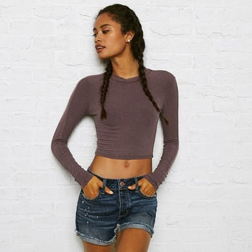 Don't Ask Why Ribbed Crop Top, Purple
