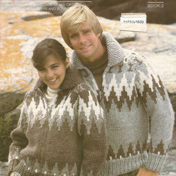 White Buffalo Pattern #6727.  Cowichan Salish style sweater, Wool cardigan, Adult, Native Canadian, hippy, West coast, stranded his and hers