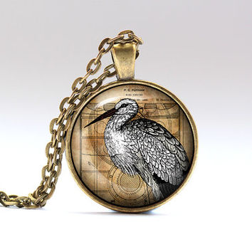 Stork jewelry Steampunk pendant Bird necklace SNW17