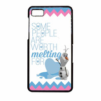 Olaf Quote Melting The Disney Frozen Pink Blue Chevron BlackBerry Z10 Case