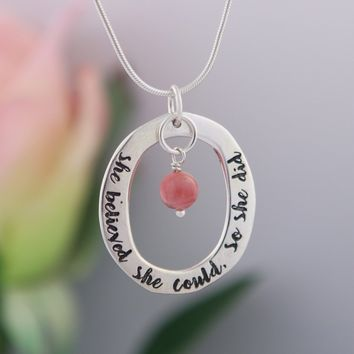 She Believed She Could So She Did Beaded Pendant