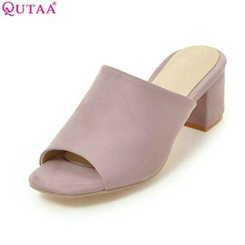 QUTAA 2017 Women Sandals Square Med Heel Slip On Platform Women Shoes Slingback Black Ladies Wedding Shoes Size 34-43