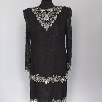 Vintage 80's Flapper Dress Brilliante by J.A. Black Silver Beaded Gown Great Gatsby 1920s Style Short Morticia Addams 30s Art Deco Burlesque