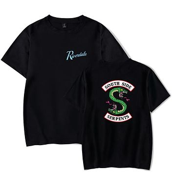 Men T Shirt Summer Style Tops Riverdale South Side Serpents T-Shirt For Man Jughead Jones Archie Andrews Tee Tops (Two Side)