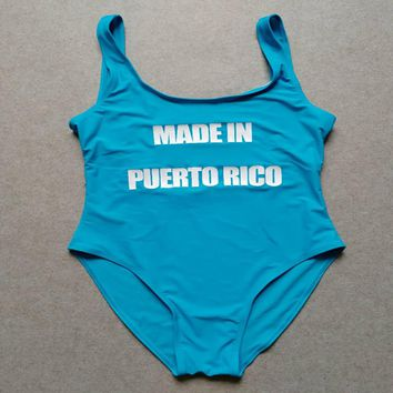 MADE IN PUERTO RICO Funny One Piece Swimsuit Swimwear Swimsuit Bathing Suit