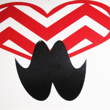 Valentines day, Chevron Heart and Mustache decal, Heart decal, cheveron heart, mustache decal, mustache, DIY decal, Diy vinyl, vinyl decal