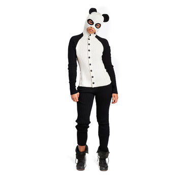 PANDA BEAR Adult Jumpsuit for Men and Women - Designer Spencer Hansen for Blamo Toys - One Piece Costume with Hoody